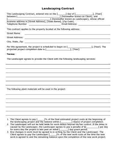 Landscaping Contract Party Planner Pinterest Wedding