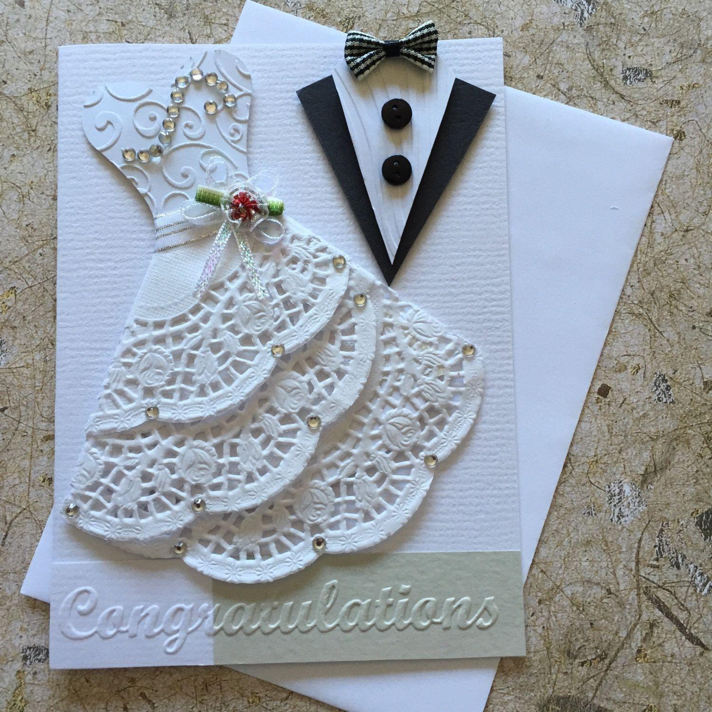handmade wedding card  blank insert white envelope included