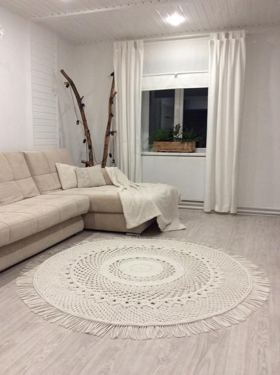 Makrameeteppich Runder Teppich Tapis Knit Crochet Ideas Crochet Idea Te Ma Teppich Design Schlafzimmer Teppichboden Teppich