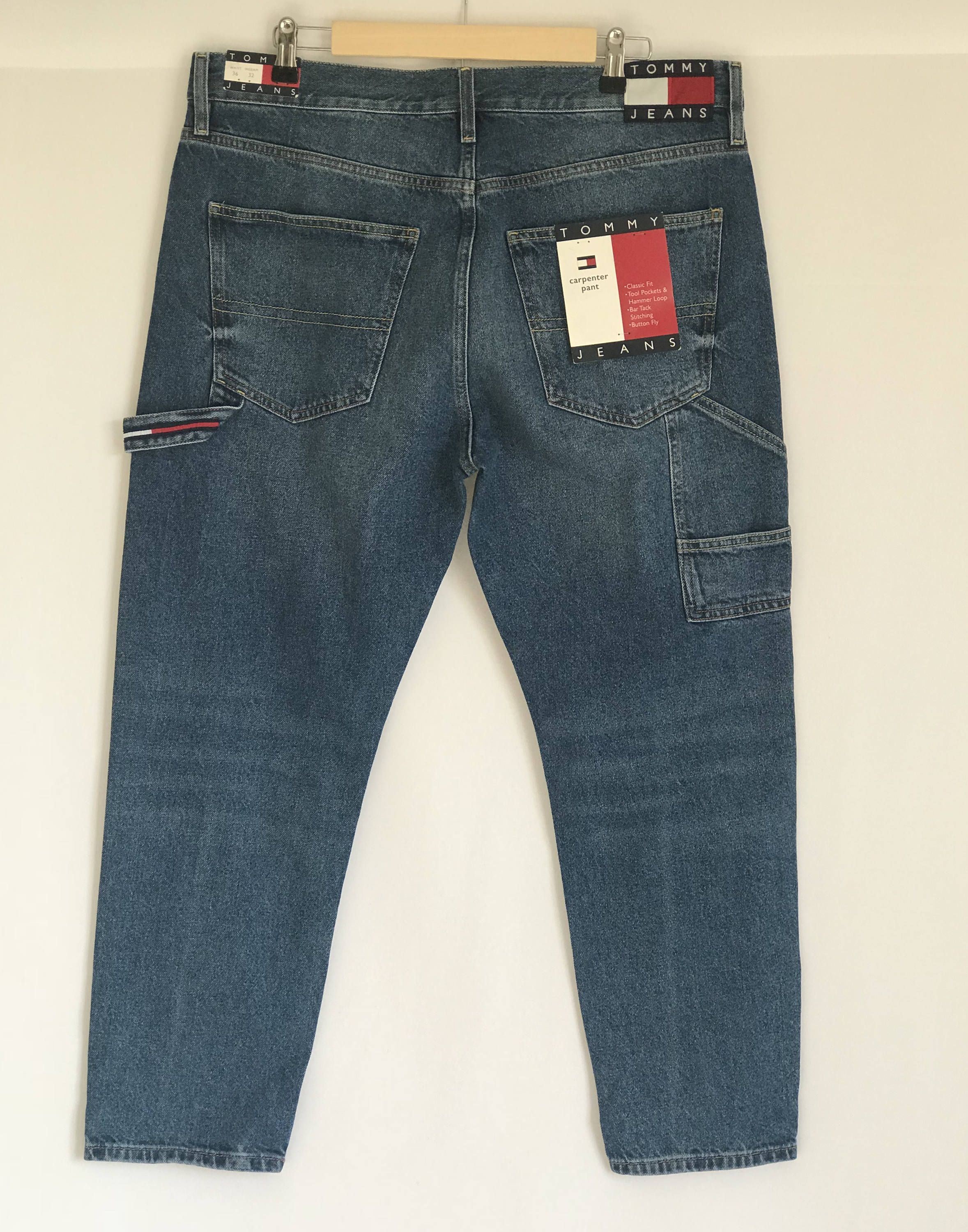 8e0474df Tommy Hilfiger Carpenter Jeans/ 90s Style/ Carpenter/ Loose Fit/ Dark Wash/  Button Fly/ vintage mens