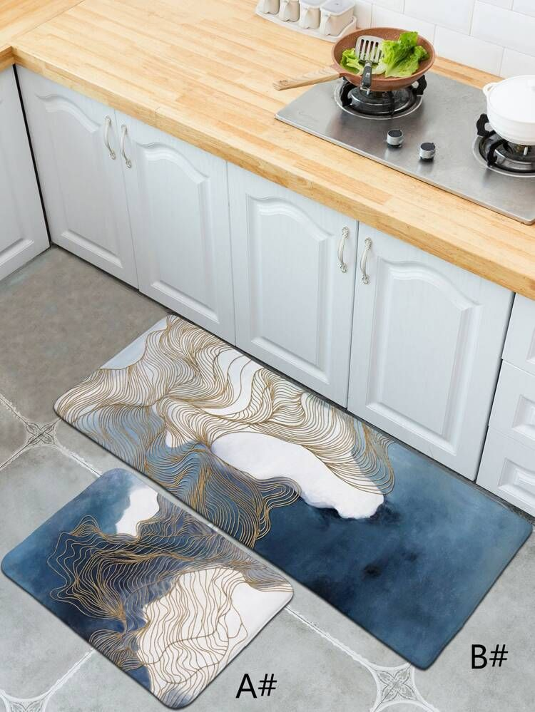 Water Color Print Floor Mat Shein Usa Printed Floor Mat Floor Mats Colorful Prints