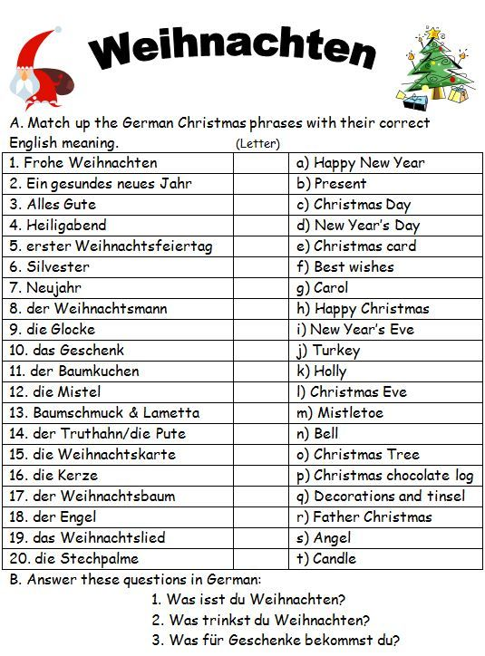 Match the German Christmas phrases to the English versions