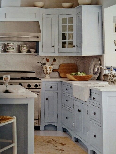 Benjamin Moore Iced Slate With Carrara Marble Counter Tops