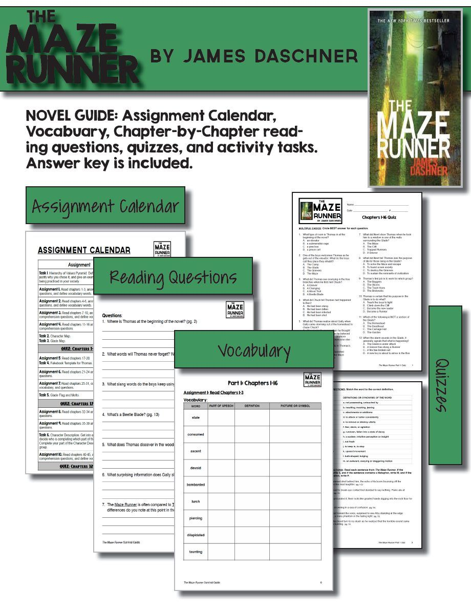 """This is an in-depth novel study on the """"The Maze Runner,"""" by James  Daschner. Over 100 pages cover everything you need to teach this amazing  novel starting ..."""