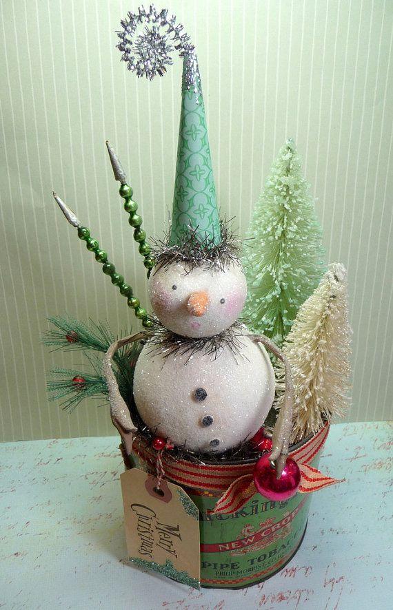 Christmas table decor snowman home decor old world Christmas centerpiece Vintage snowman Paper mache Snowman figurine Cottage Chic