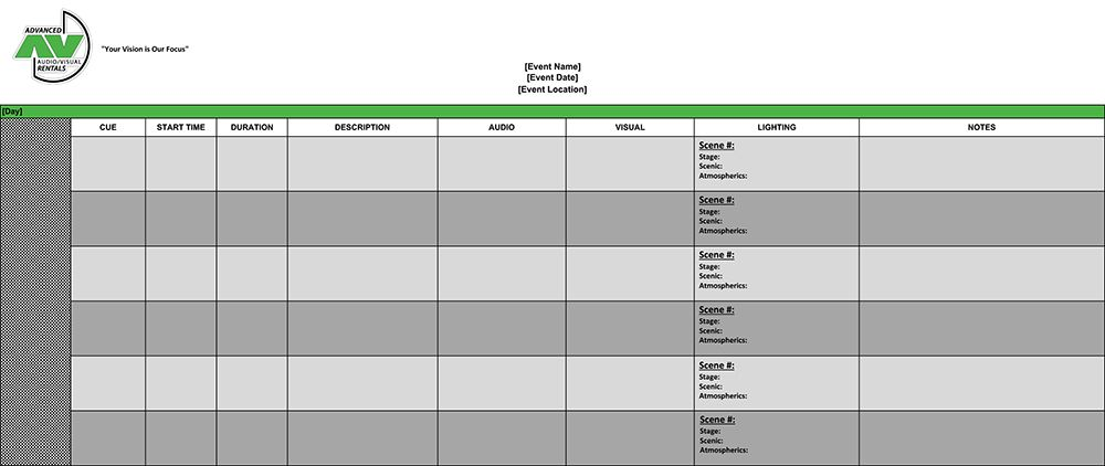 Download this template to organize your event cues for better events - line sheet template download