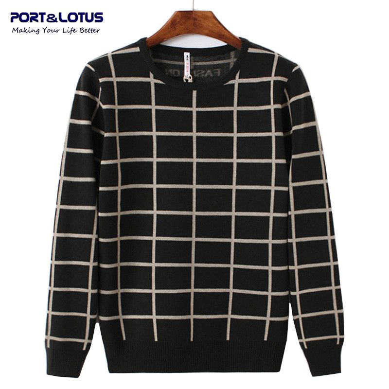 PORT&LOTUS Men Sweater Plaid Pullover Brand Clothing V-Neck Print Long Sleeve Pullovers Sweaters LSLSQF1528