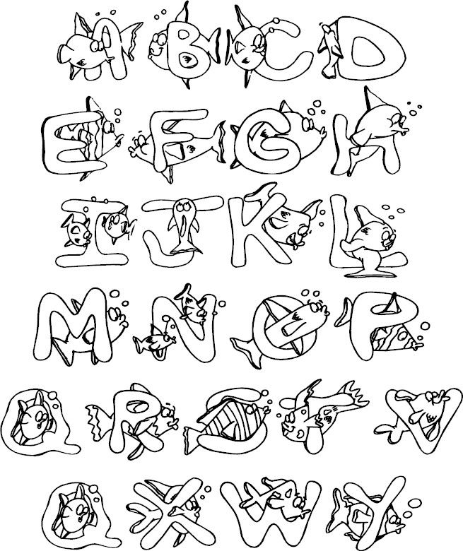 Full Alphabet Coloring Page Lettering Alphabet Hand Lettering Alphabet Lettering Fonts