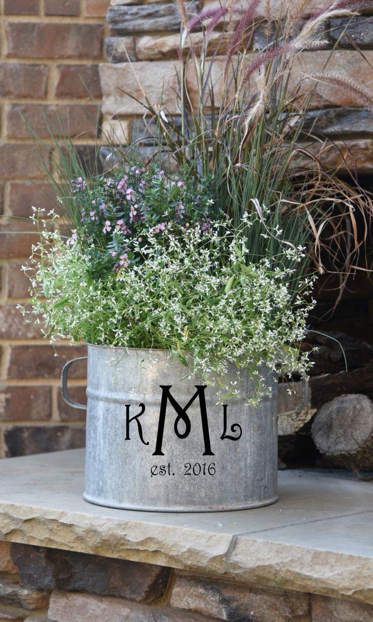 Triple Monogram Vintage Galvanized Bucket | Outdoor garden ideas ...
