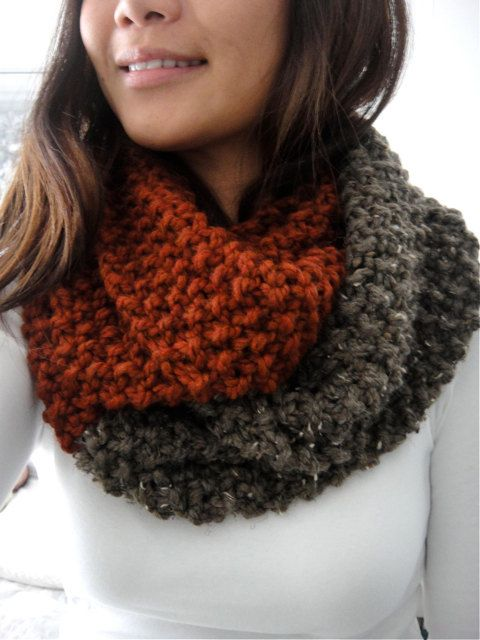 Brooke Color Block Chunky Infinity Scarf Cowl Cinnamon By Lululuvs 50 00