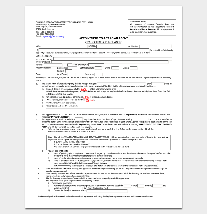 Agent Appointment Letter Samples Formats Examples Dotxes Property