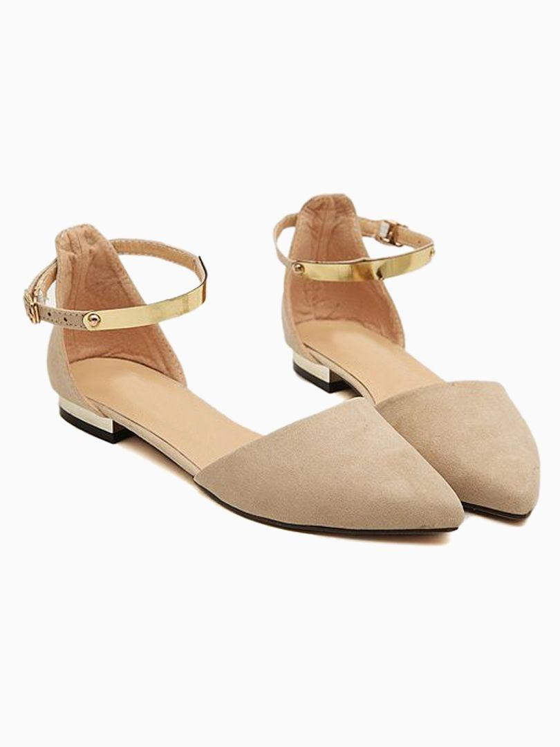 7e2b3c982be1 Beige Suede Pointed Flat Shoes with Metallic Ankle Strap