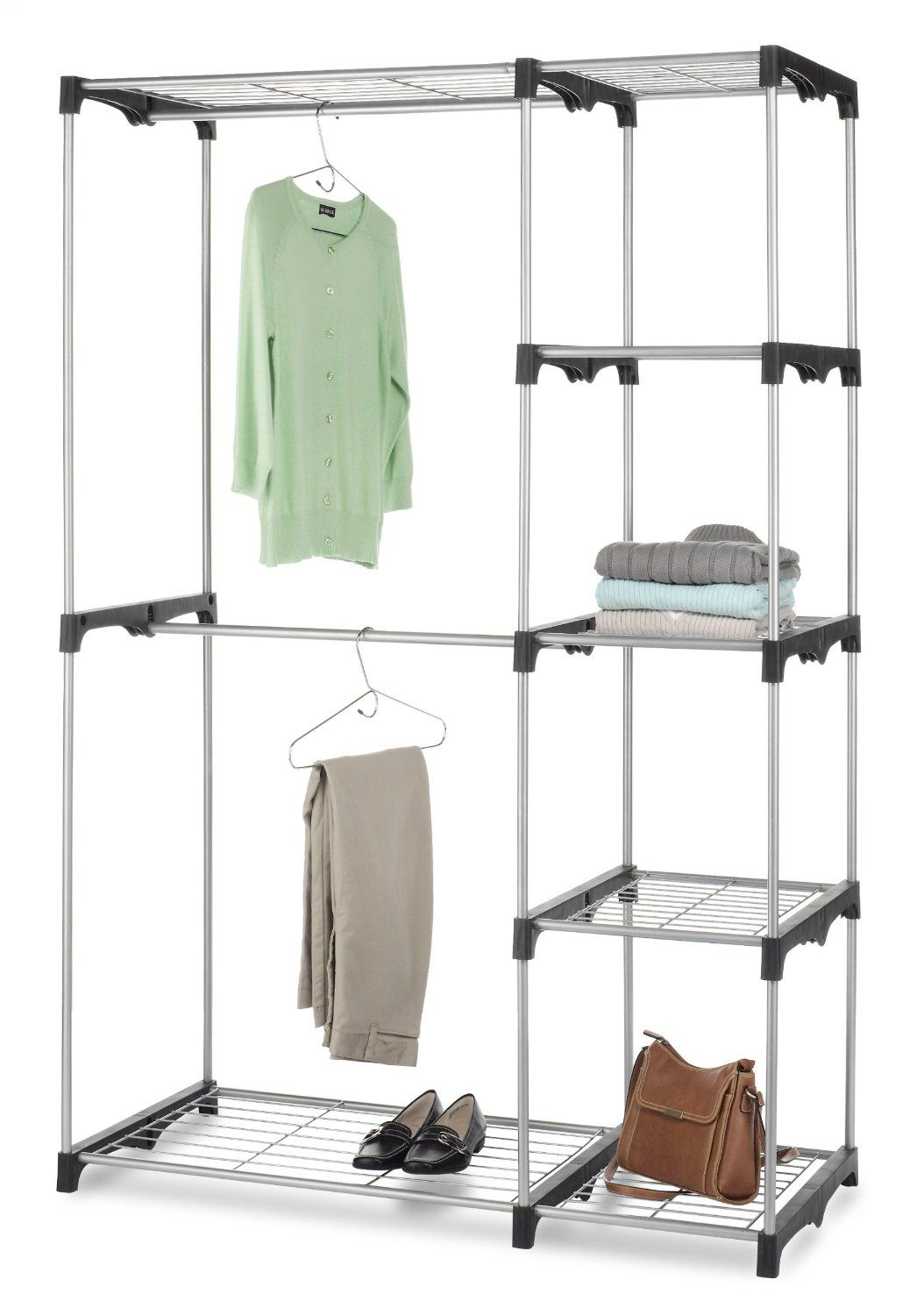 Whitmor Double Rod Freestanding Closet, Silver/Black For The Tent Sale.  Then Use For Storage In The Back Room!