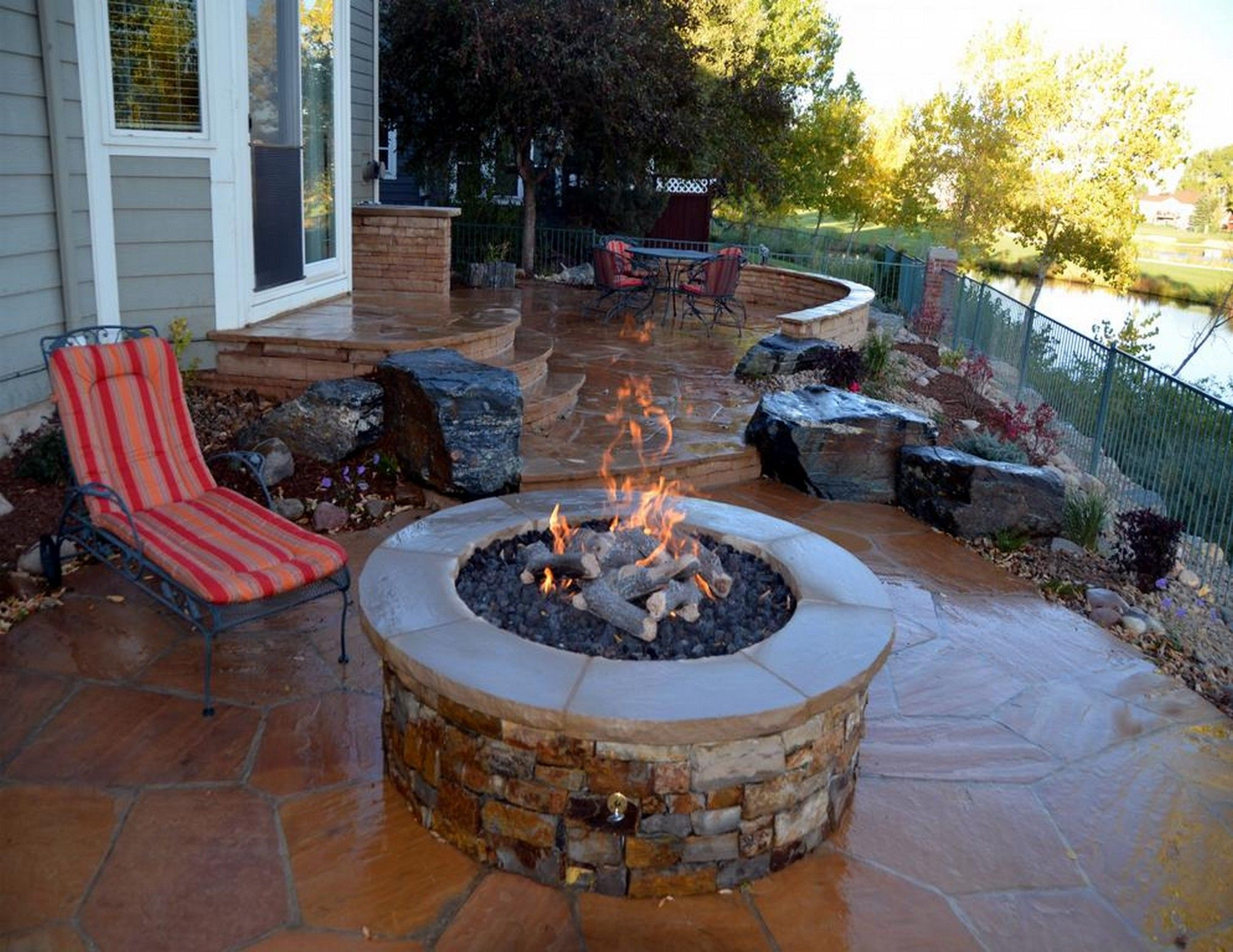 decorating small outdoor patio decorating ideas with fire pit and