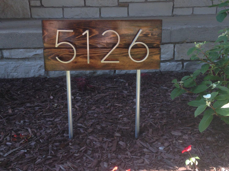 Mid century modern custom vertical address sign house