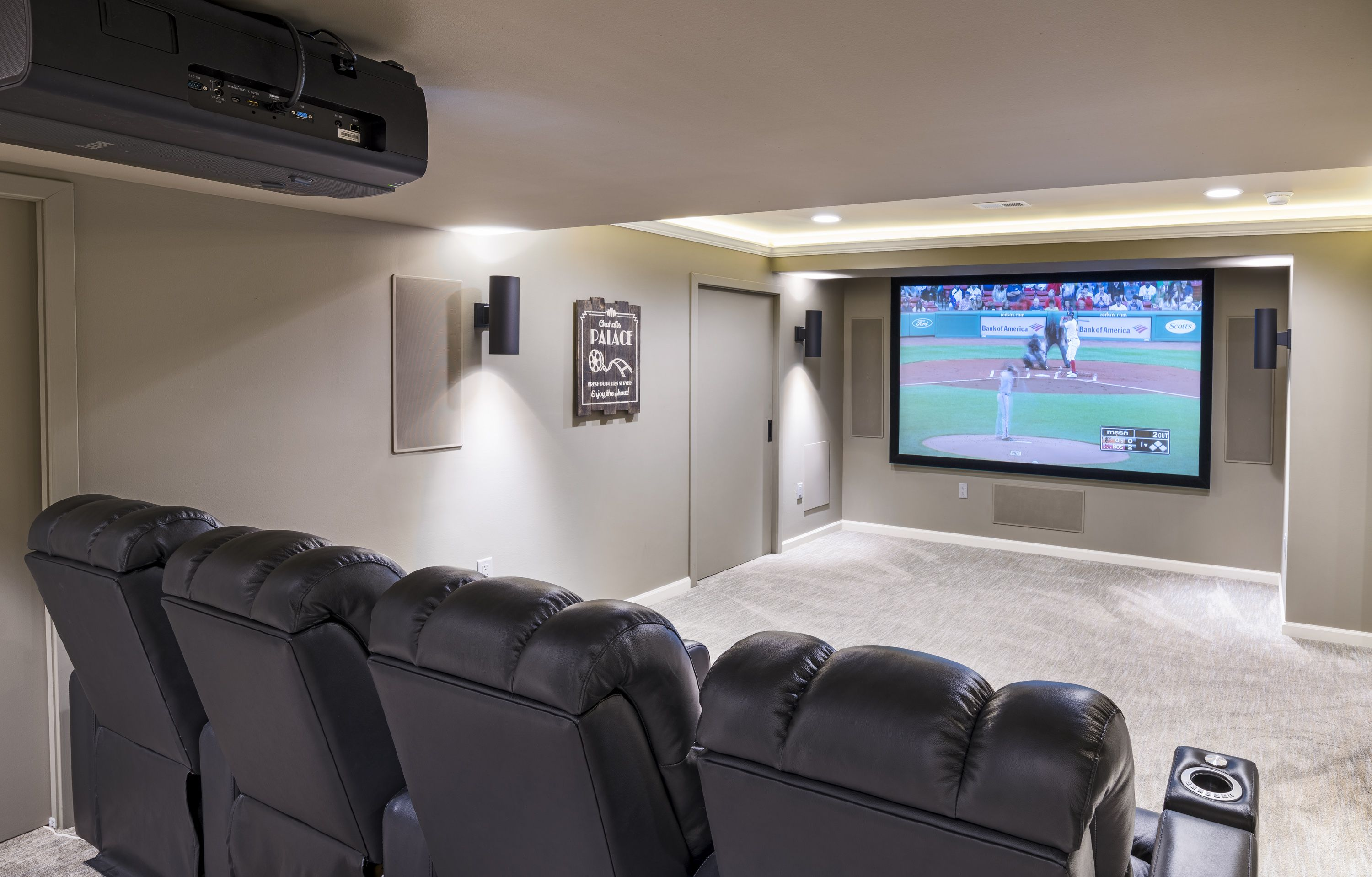 Basement home movie theater renovation crafted by our ... on Disabatino Outdoor Living id=57725