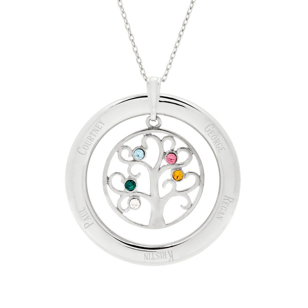 5 Simulated Stone Engravable Cubic Zirconia Crystal Family Circle Pendant