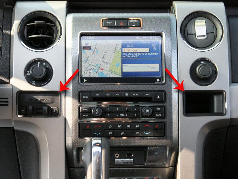2010 2014 Ford F150 Raptor Dash Trim For Trailer Brake Cubby Hole Stainless Steel Ford F150 Accessories Ford F150 2014 Ford F150