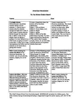 American Revolution Editable Choice Board   Social Studies