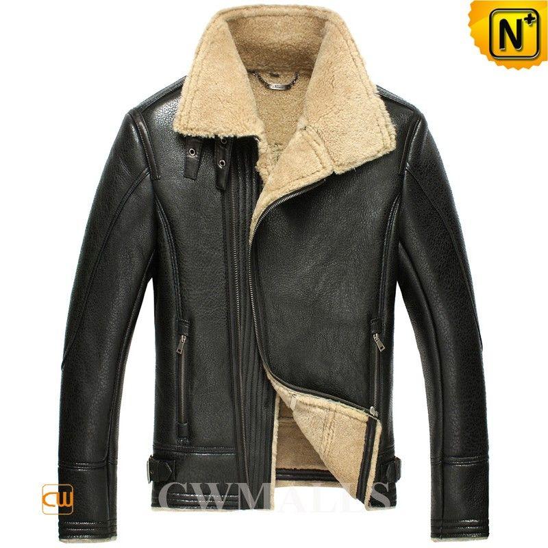Men/'s Sheep Fur Shearling Motorcycle Bomber Leather Jacket
