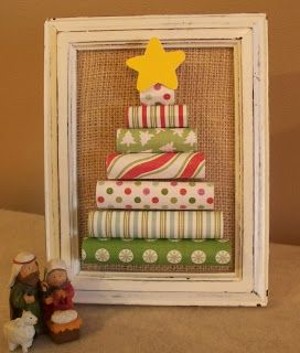 rolled paper tree - cute element for a shadow box
