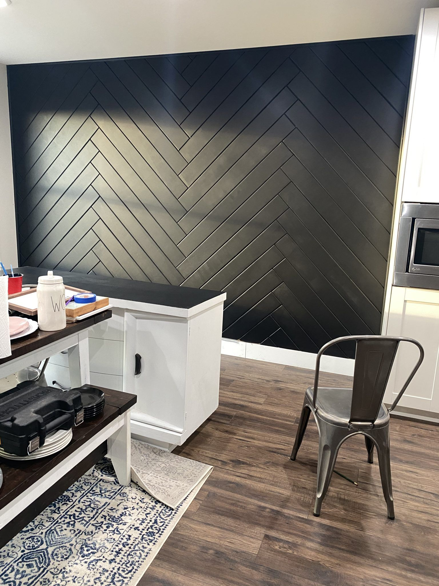 Herringbone Accent Wall DIY in 2020 Black accent walls