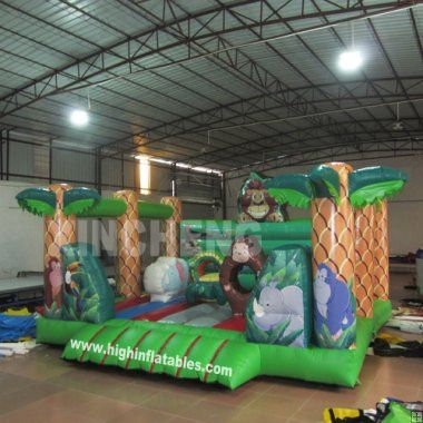 Inflatable multi jungle bounce