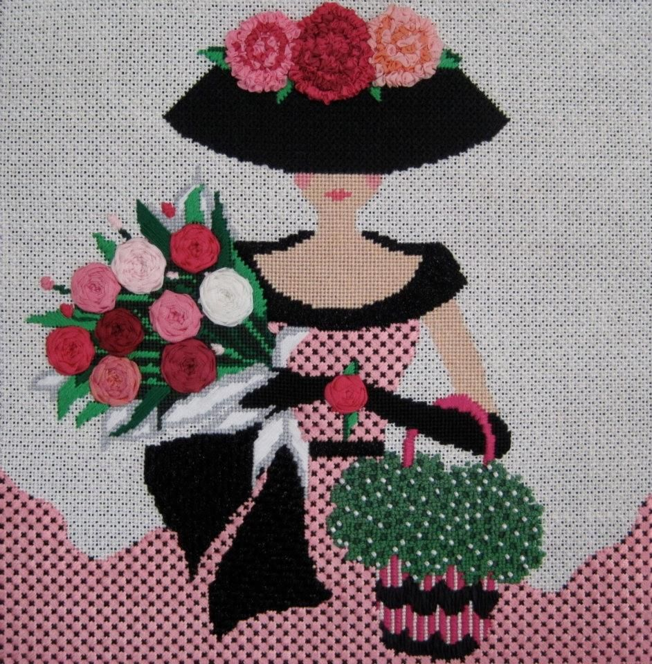 needlepoint lady with roses