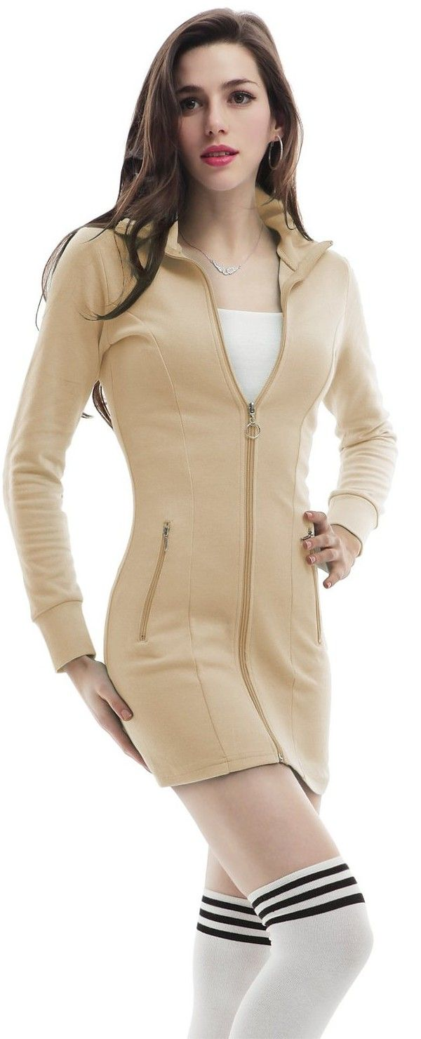 Doublju Womens Hood Dress with Zip-up in Fine Cotton