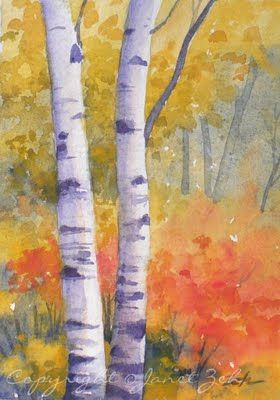 Paper Birch Trees In Autumn Watercolor Paintings In 2020 Birch
