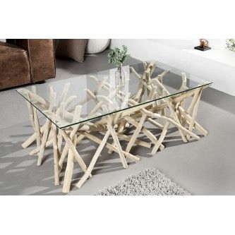 Table basse design bois flotté Adora 110 cm