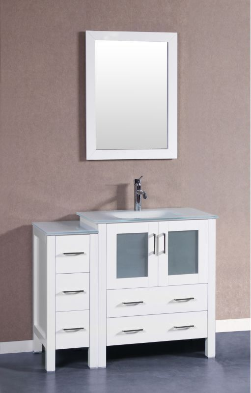 Bosconi A130ewgu1s 42 Free Standing Vanity Set With Wood Cabinet Tempered Glas White Fixture Vanity Si Single Bathroom Vanity Single Vanity Marble Vanity Tops