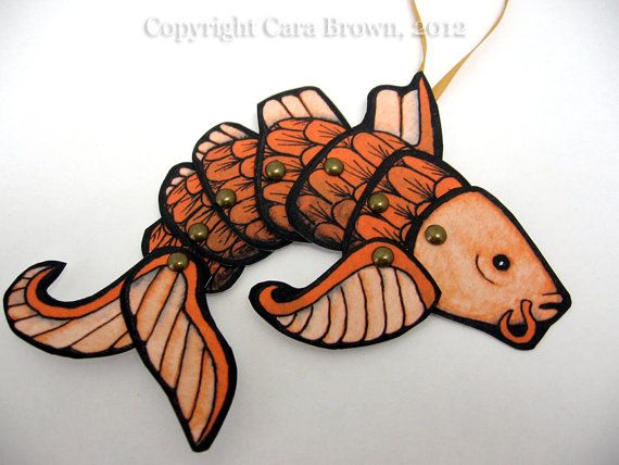 Koi Fish paper doll ornament articulating party by TheElfinForest, $10.00