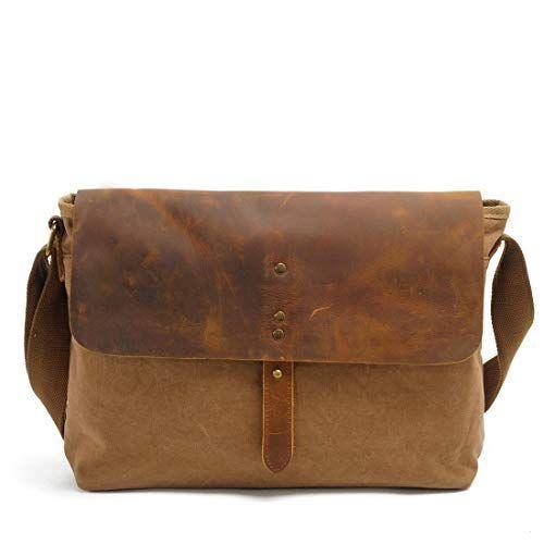 KRPENRIO Multiple Pocket Men's Messenger Shoulder Bag Vintage Canvas Briefcase Crossbody Day Bag for School and Work (Color : Khaki) #smallumbrella