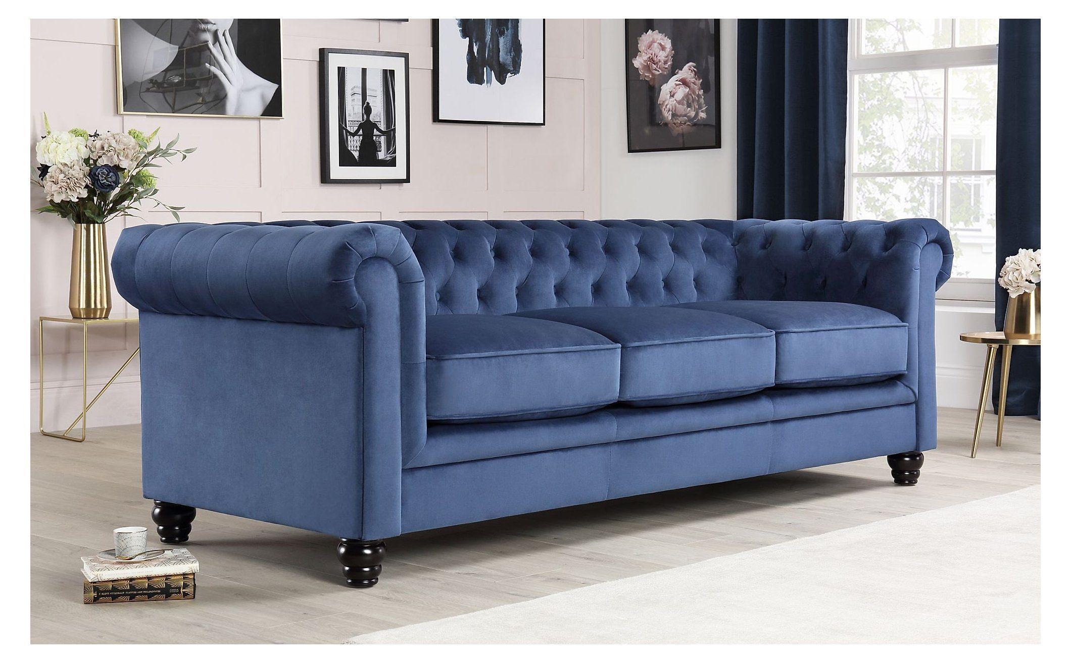 Hampton Blue Velvet 3 Seater Chesterfield Sofa Furniture Choice Blue Velvet Duvet Hampton Blue Velvet Chesterfield Sofa Living Room Chesterfield Sofa Sofa