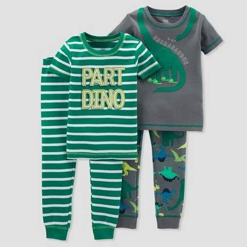 db696260a Just One You made by carter Baby Boys  4pc Cotton Dino Pajama Set ...