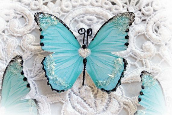 This listing is for 3 beautiful Sweetheart Teal Butterflies They make a…