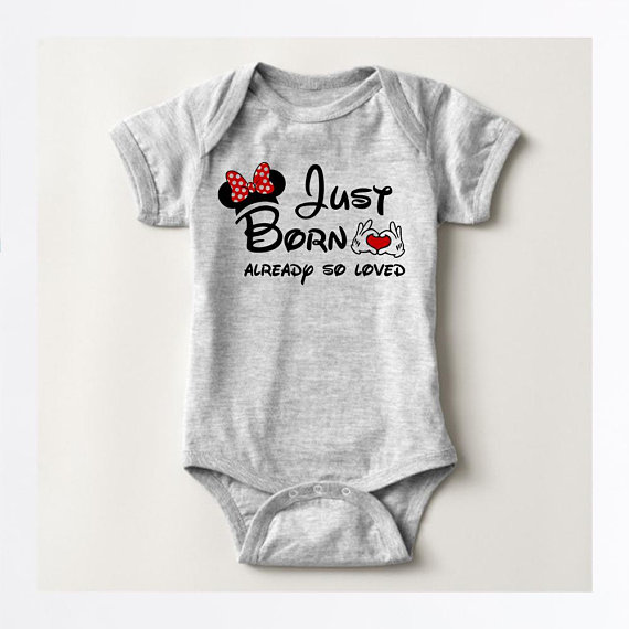 036949eed226 Just Born Already so loved Mickey Minnie Bodysuit
