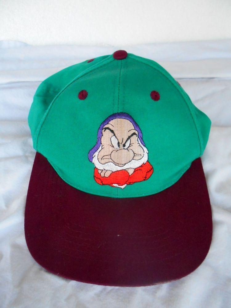 Disneyland GRUMPY Hat SnapBack Adult Sz Snow White And The Seven Dwarfs  ADJUSTAB cd464e29cd13