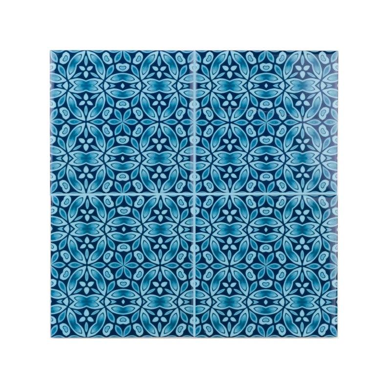 Liberty Print blue green kitchen splashback tiles, rich Ocean-blue feature wall pattern tile, edwardian country kitchen, victorian fireplace