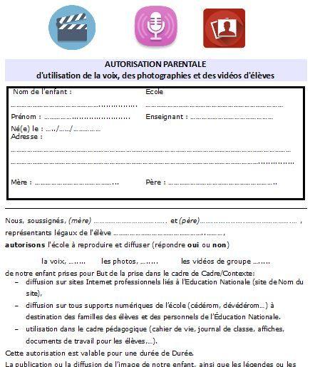 ressources pour l u0026 39  u00e9cole  formulaire d u0026 39 autorisation parentale pour la prise de photos  vid u00e9os en
