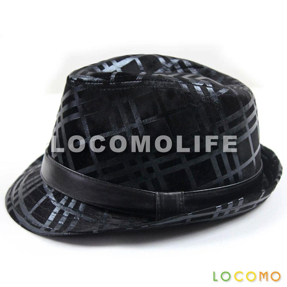 2e3f99c1c1f Plaid Brushed PU Leather Fedora Short Upturn Brim Hat Black ...