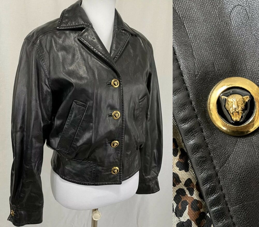 Vintage Escada Margaretha Ley Sz 34 Black Leather Jacket Gold Buttons Silk Lined Escada Bomberjacke Black Leather Jacket Leather Jacket Bomber Jacket Vintage [ 876 x 1000 Pixel ]