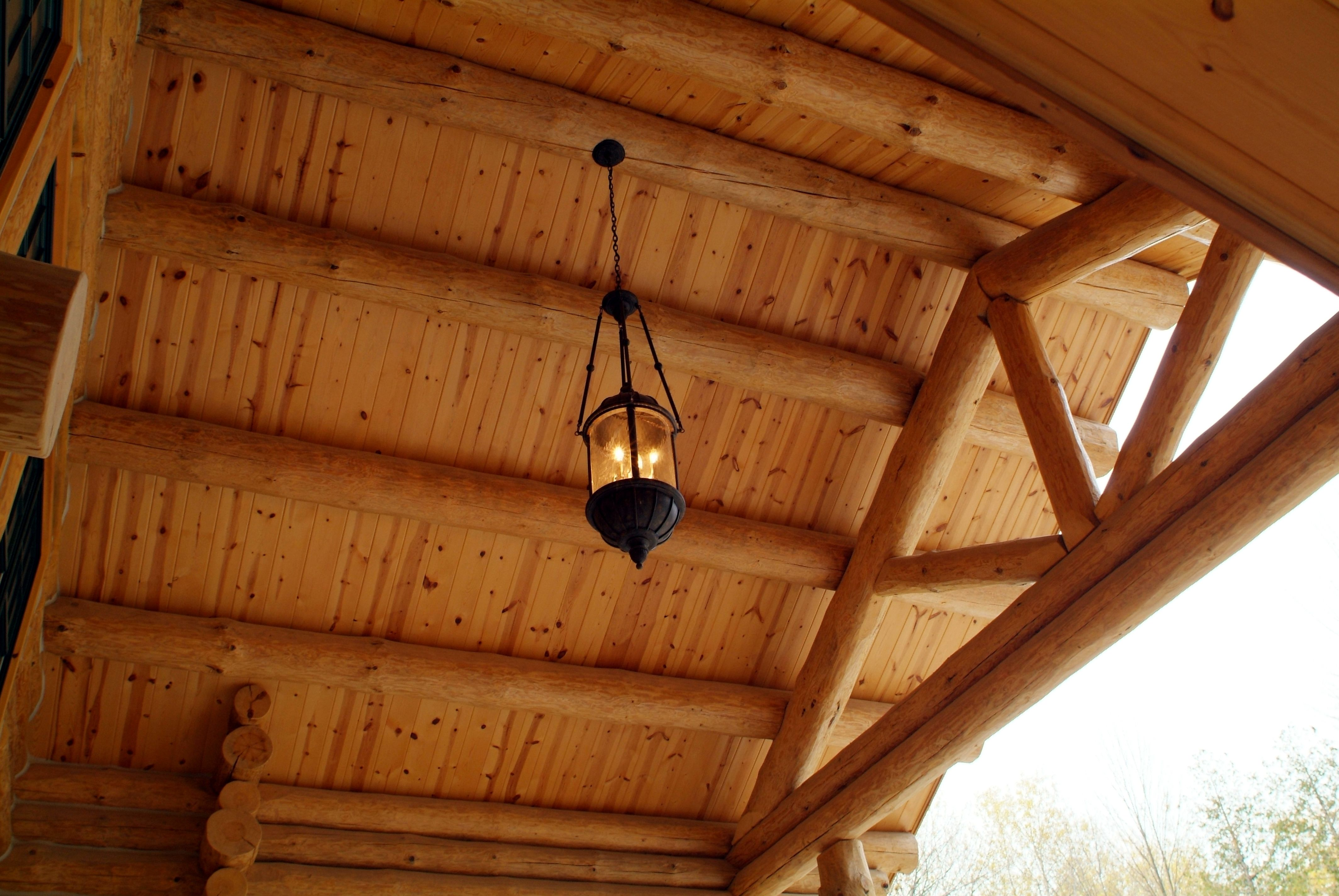 Tongue Groove Roof Decking With Log Rafters And Log Truss Knotty Pine Paneling City Gallery Log Siding