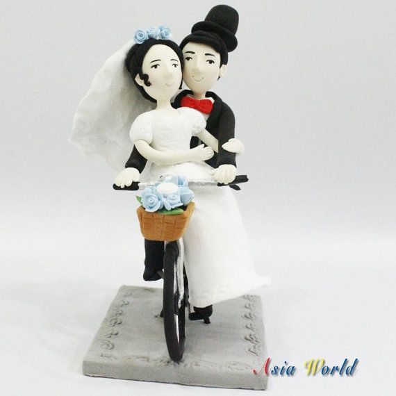 Wedding Couple On Bicycle Clay Dollswedding Cake By