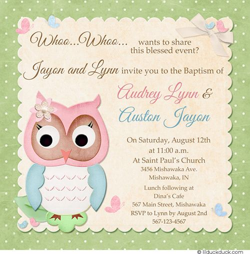Baby Owl Baptism Invitation - Religious Cute Hoot Style Baptism - sample baptismal invitation for twins