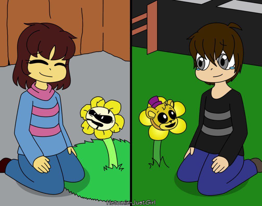 Undertale And Fnaf Flowers And Kids By Hetomie Justgirl Deviantart Com On Deviantart Fnaf Undertale Fnaf Drawings