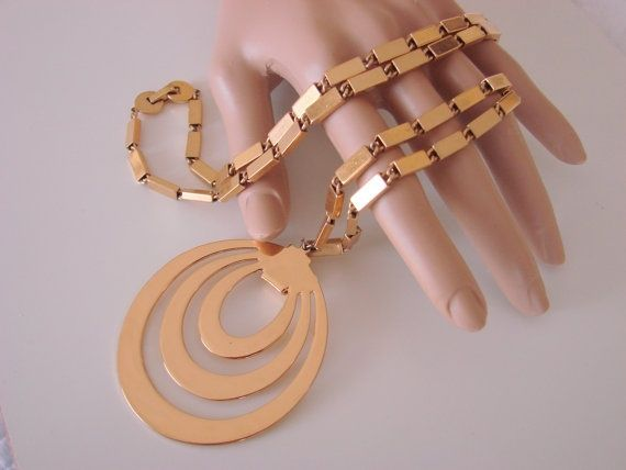 80s Modernist MONET Book Chain Pendant Necklace from Picsity.com