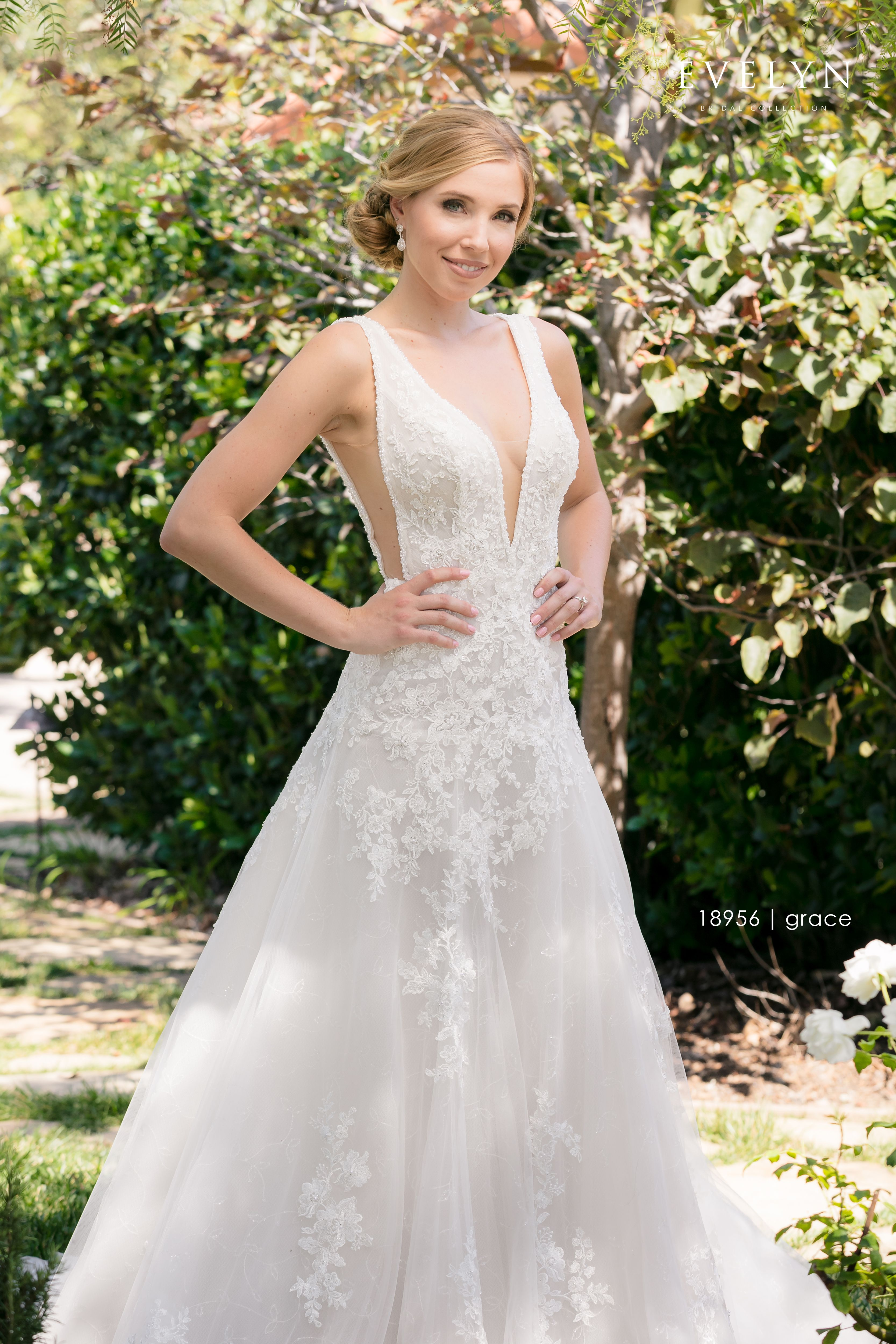 Evelyn Bridal | Grace 18956 Dropped waist tulle gown with plunging ...