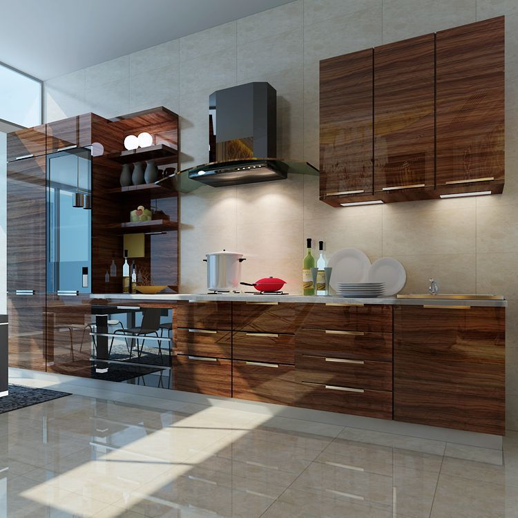 Wood Grain High Gloss Acrylic MDF Panel for Kitchen Cabinet Door ...